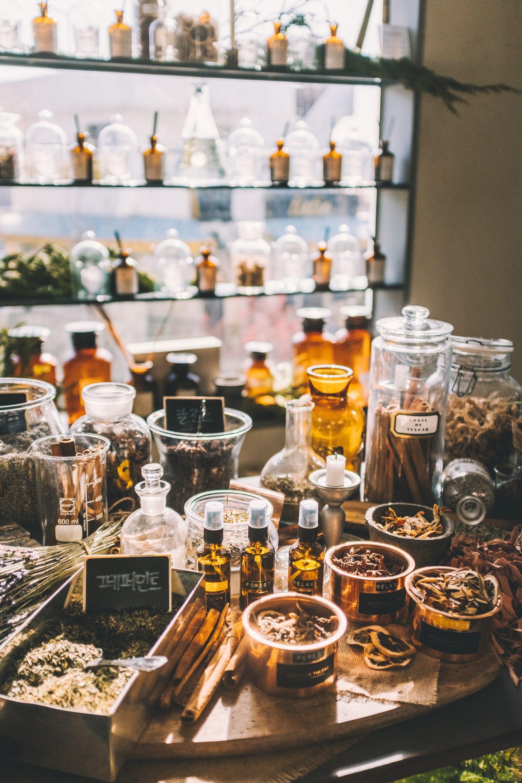 Chinese medicinal herbs in jars