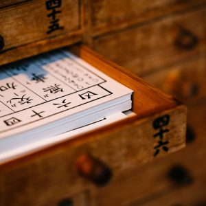 Ancient drawer with Chinese Medicine paperwork